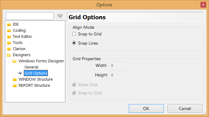 Clarion 10 Window Designer Grid Options