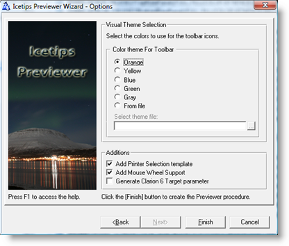 Icetips Previewer Wizard - Options